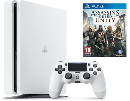 Sony Playstation 4 Slim, 500 GB, bel + Assassin's Creed: Unity