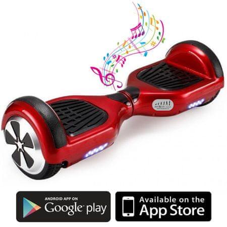 Kolonožka deskorolka elektryczna Standard z aplikacją mobilną i głośnikiem BT, czerwona