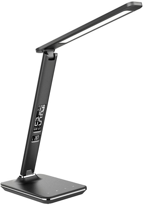 Solight LED stolná lampička s displejom 9W vzhľad koža, černá