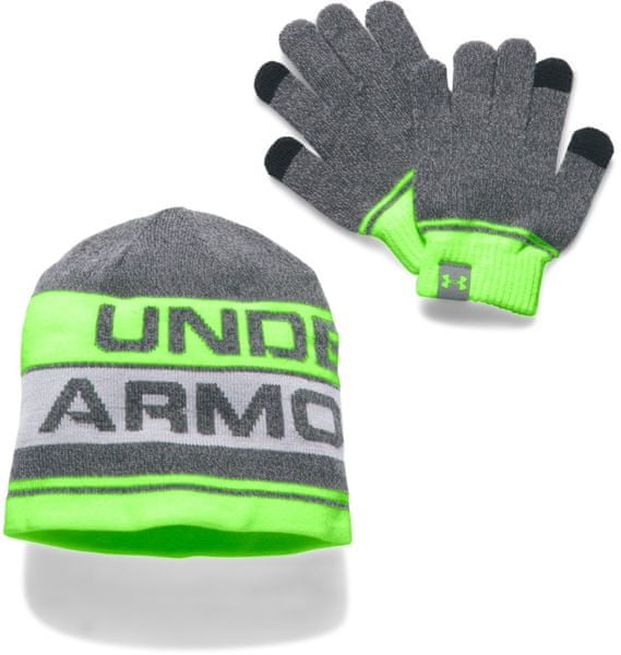 Under Armour Boy'S Beanie Glove Combo 20 Anthracite Quirky Lime Steel Osfa