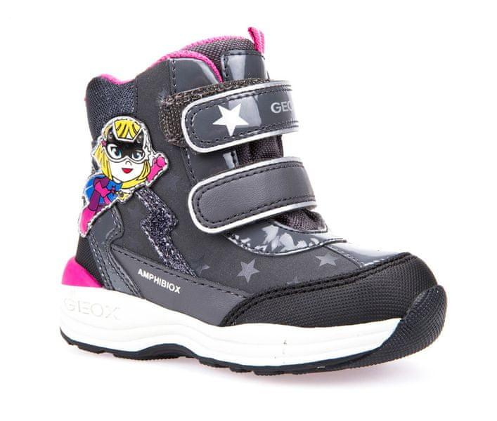 Geox dívčí zimní obuv New Gulp 24 černá/šedá