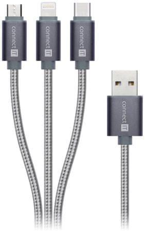 Connect IT przewód 3w1 (ze złączami USB-C & Micro USB & Lightning) CONNECT IT Wirez, srebrno-szary, 1,2 m