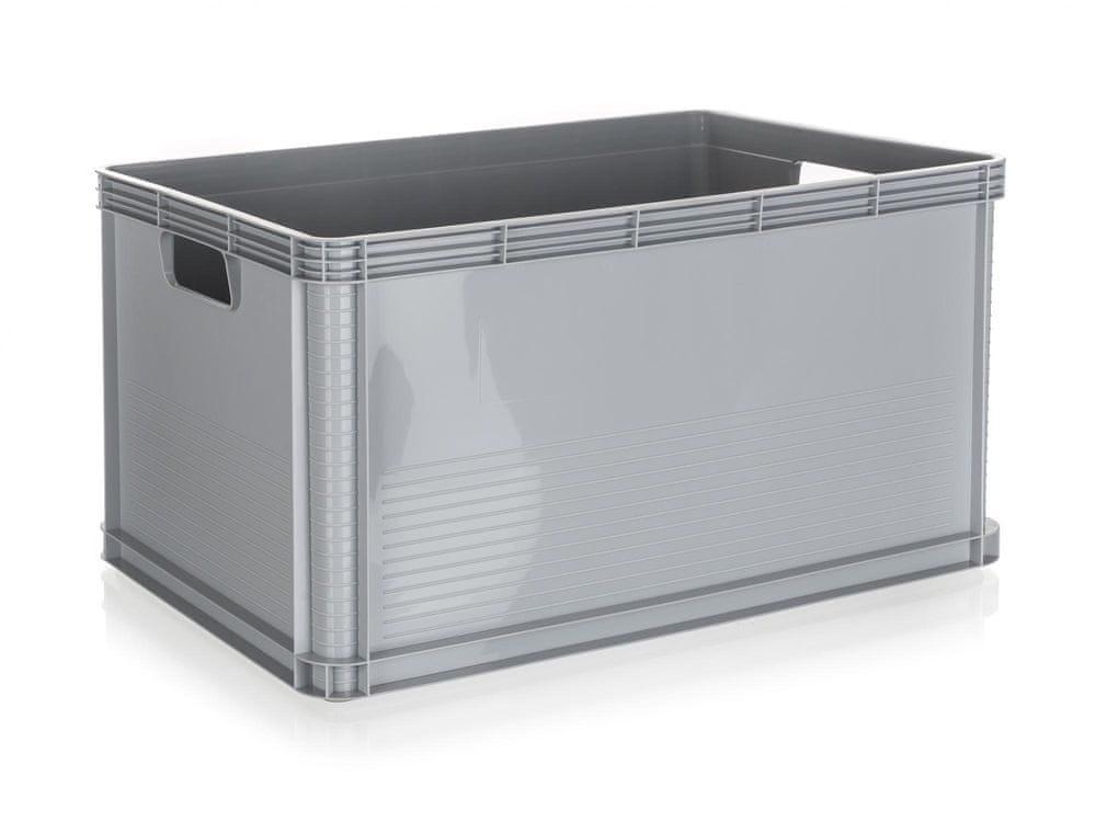 keeeper Přepravka vysoká 64L s víkem 60 x 40 cm šedá