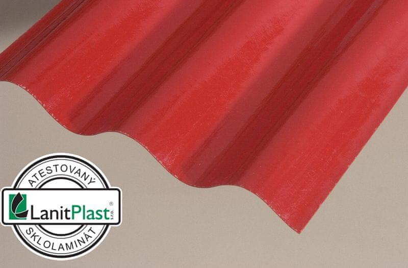 LanitPlast Sklolaminátová role 76/18 výška 2,5 m červená 14 m