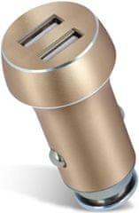 Forever Nabíječka do auta Forever, 2 x USB, 3 100 mA, zlatá