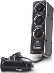 Forever Adaptér pro nabíječky do auta 1-3 + USB, černá