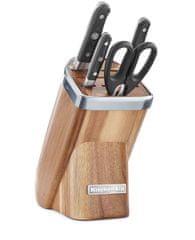 KitchenAid 5-delni set treh nožev, škarij in stojala Natural Acacia