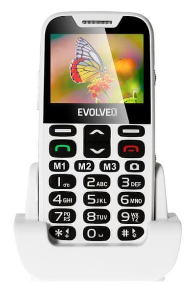 Evolveo EasyPhone XD s nabíjecím stojánkem, bílý