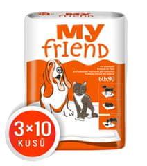 MY FRIEND podloge za hišne ljubljenčke, 90x60 sm, 3 x 10 kosov