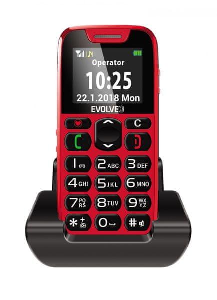 Evolveo EasyPhone s nabíjecím stojánkem, červený