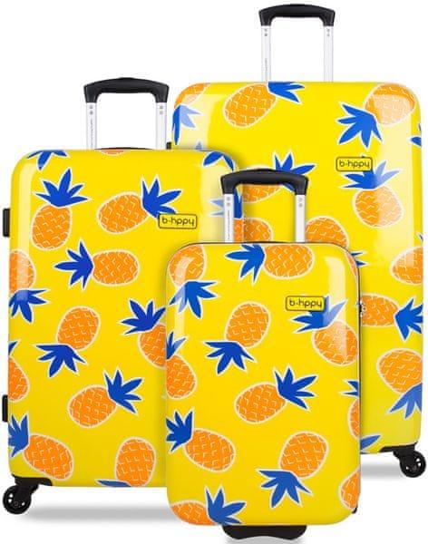 REAbags Cestovní kufr B.HPPY Home Sweet Pineapple sada