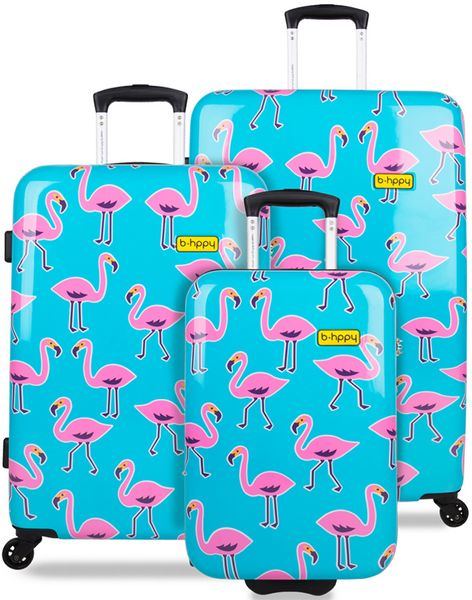 REAbags Cestovní kufr B.HPPY Go Flamingo sada