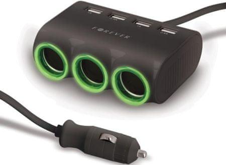 Forever Adapter do ładowarki samochodowej Forever, 4x USB + 3 x CL