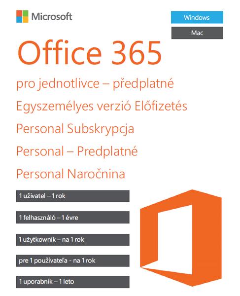 Microsoft Office 365 pro jednotlivce - 1 rok - bez média