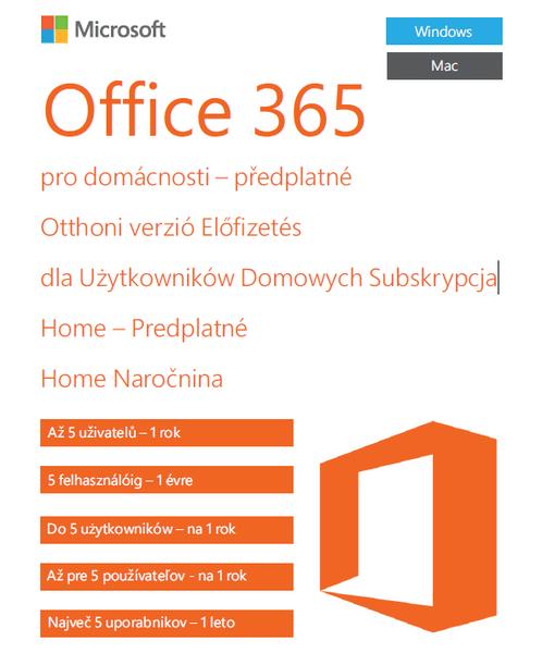 Microsoft Office 365 pro domácnosti - 1 rok - bez média