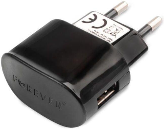 Forever Cestovní nabíječka Forever, Micro-USB, 1 000 mA, s oddělitelným kabelem, černá