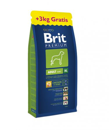 Brit karma Premium Dog Adult XL 15 kg + 3 kg gratis
