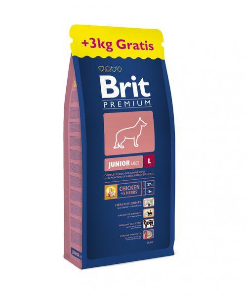 Brit Premium Dog Junior L 15 kg + 3 kg Zdarma