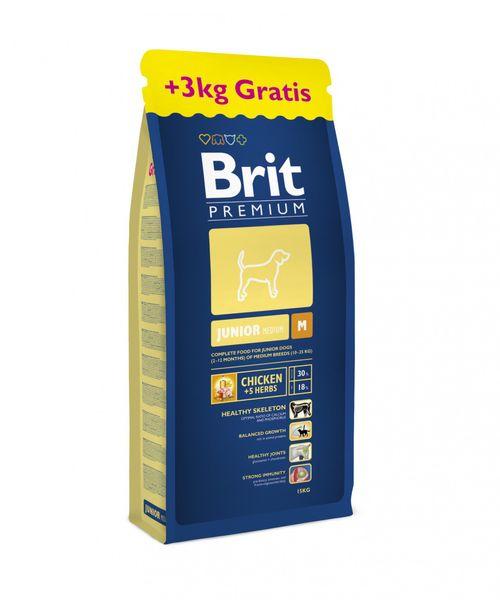 Brit Premium Dog Junior M 15 kg + 3 kg Zdarma