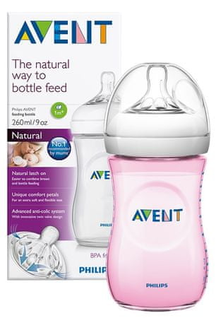 Avent butelka do karmienia Natural - 260 ml, różowa