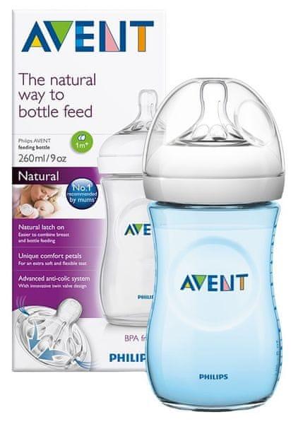 Avent Lahev Natural 260 ml + Natural 260 ml modrá