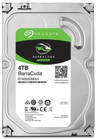 Seagate trdi disk BarraCuda 4 TB, 3,5 SATA3, 6GB/s, 256MB, 5400 obratov (ST4000DM004)