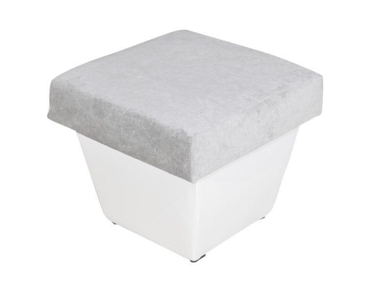 Taburet TOLEDO, látka šedá/bílá ekokůže