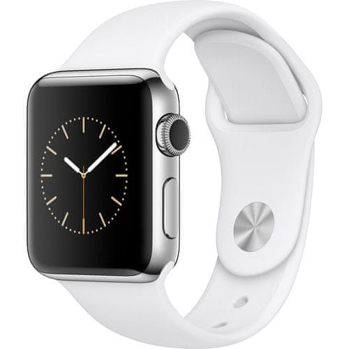 Apple Watch Series 2, 38mm Stainless Steel Case with White Sport Band - II. jakost