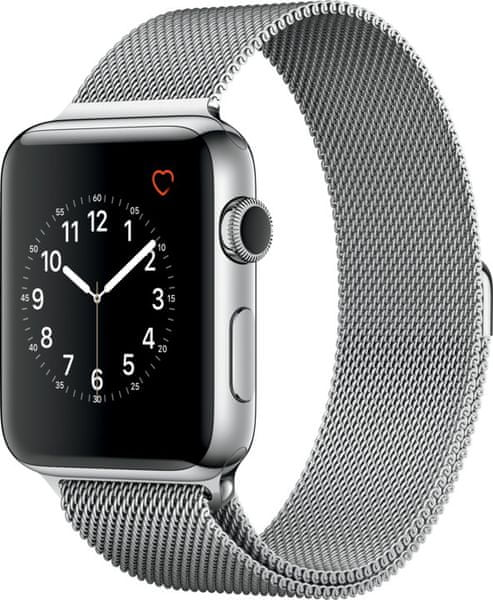 Apple Watch Series 2, 42mm Stainless Steel Case with Silver Milanese Loop
