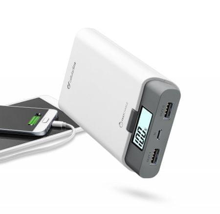 CellularLine prenosna baterija Freepower Dual, 10000 mAh, bela