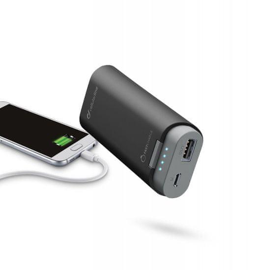 CellularLine prenosna baterija Freepower, 5200 mAh, črna