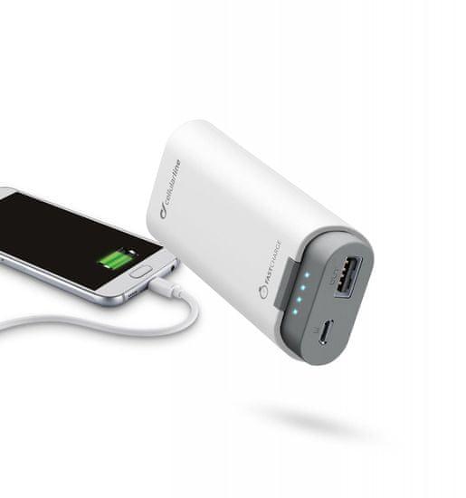 CellularLine prenosna baterija Freepower, 5200 mAh, bela