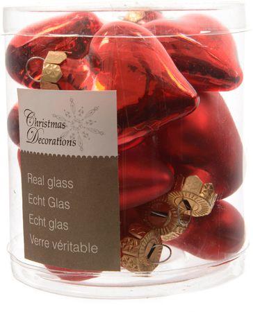 Kaemingk set različnih okraskov steklena Srca rdeča 12 kosov
