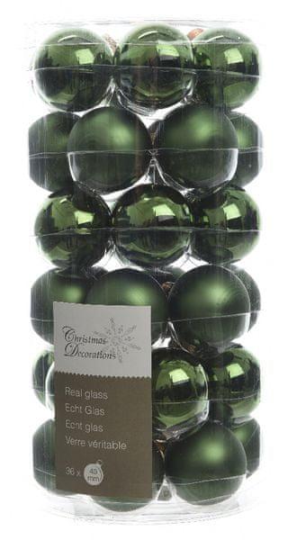 Kaemingk mix Mini Koule skleněné tmavě zelené 36 ks