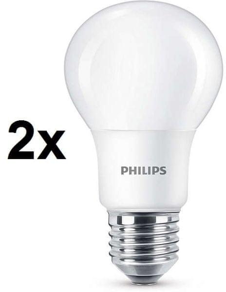Philips CorePro LED žárovka 8 - 60W E27 teplá bílá, 2 ks