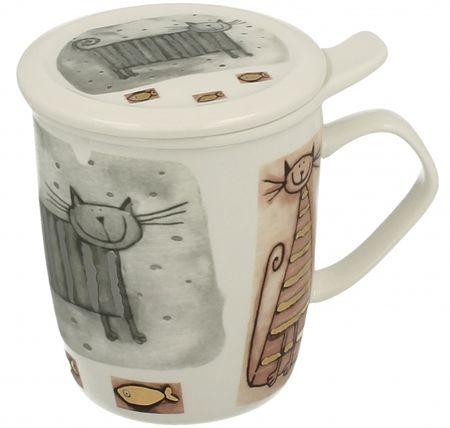 Marex Trade velika skodelica za čaj s pokrovčkom CATS 400 ml + cedilo