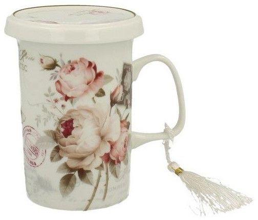 Marex Trade Hrnek na čaj s víčkem a čajítkem SECESE 320ml v dárkovém balení
