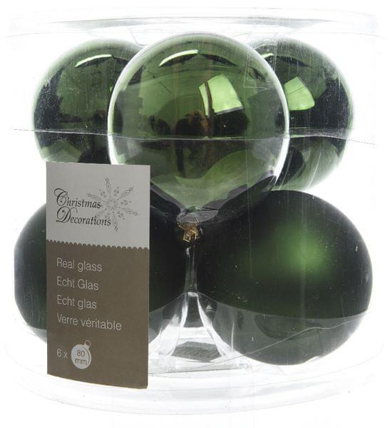 Kaemingk Vánoční ozdoby koule 6 ks, tmavě zelená