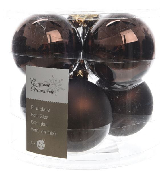 Kaemingk Vánoční ozdoby koule 6 ks, tmavě hnědá