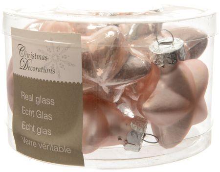 Kaemingk set različnih okraskov steklene Zvezde roza 12 kosov