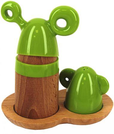 Marex Trade posoda za začimbe, leseni podstavek, zelena