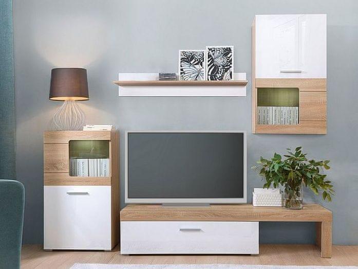 Obývací stěna POLLA, dub sonoma/bílý lesk