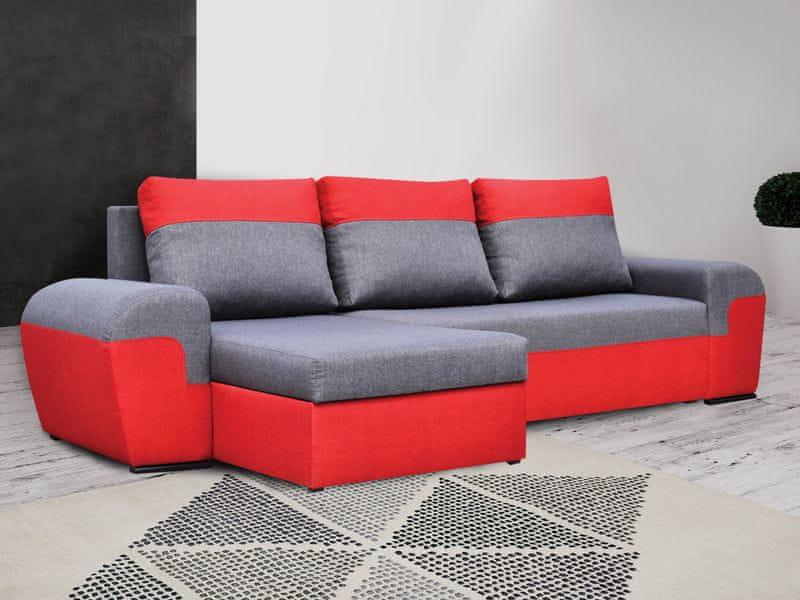 Rohová sedačka MORY KORNER, šedá/červená