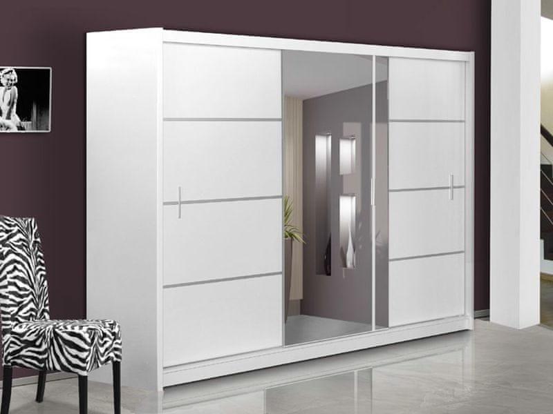 Šatní skříň s posuvnými dveřmi VISTA 250, bílá