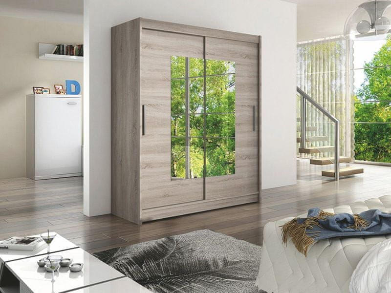 WESTA III šatní skříň s posuvnými dveřmi, dub lanýžový