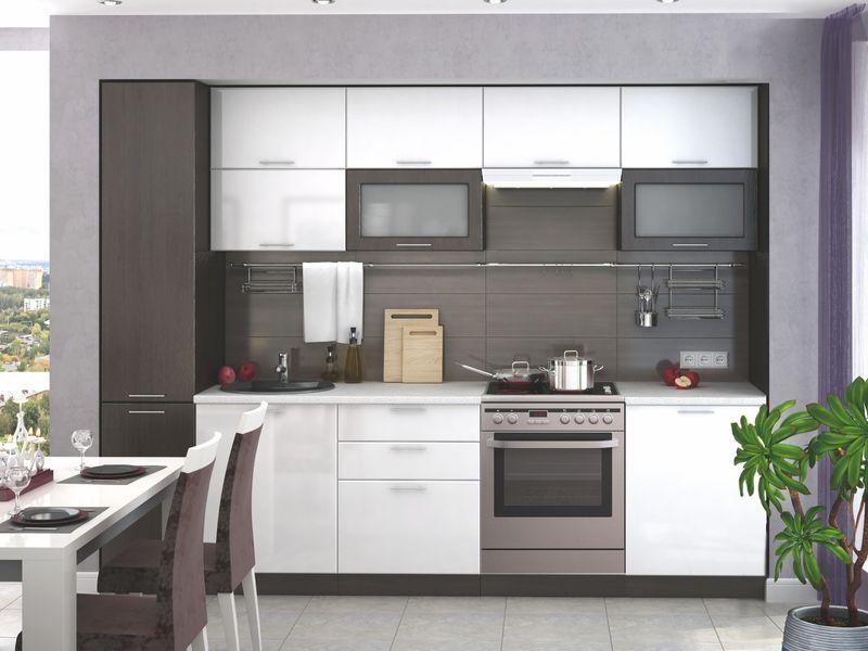 Kuchyně VALERIA 180/240 cm bez pracovní desky, wenge/bílý lesk