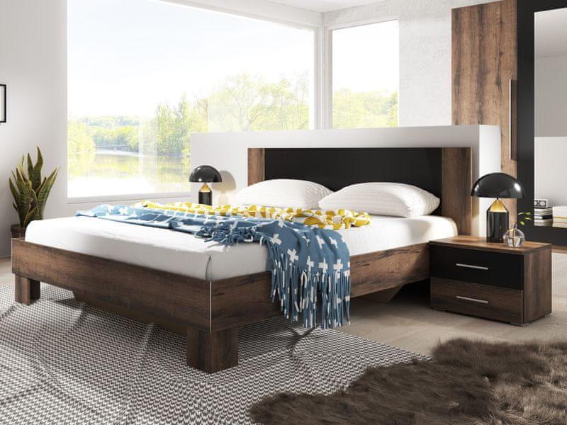 VERA postel 180x200 cm s nočními stolky, dub monastery/černá