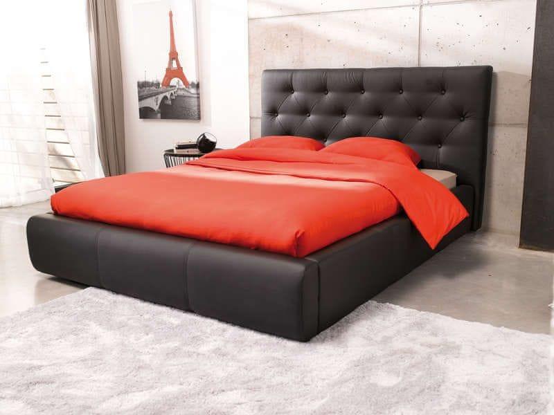 JASMINE, postel 160x200, černá ekokůže