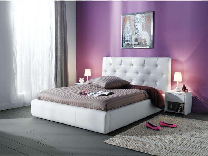 JASMINE, postel 180x200, bílá ekokůže