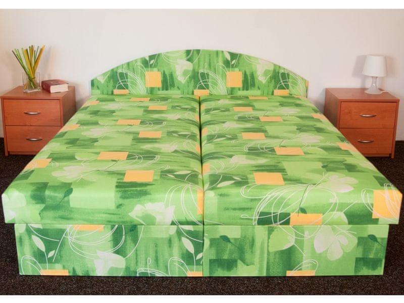 Čalouněná postel ÁJA 180x200 cm, zelená látka
